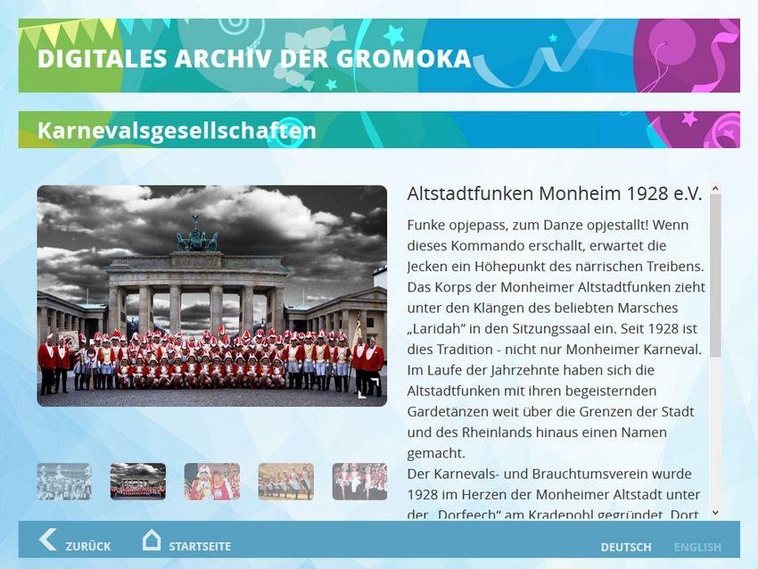 Detailansicht zu einer Karnevalsgesellschaft mit Mediengalerie und Text