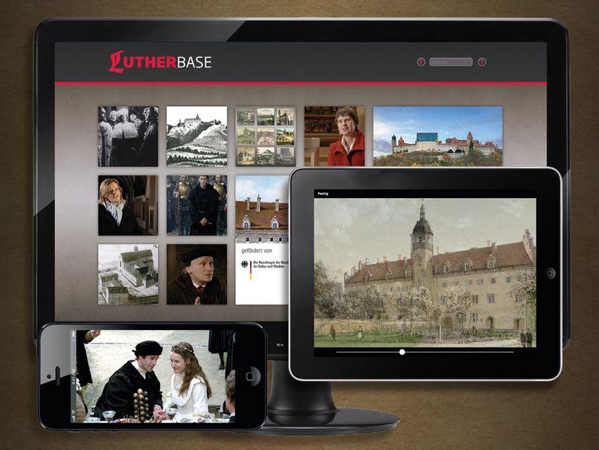 Werbegrafk mit Darstellungen des Lutherbase-Projekts auf den unterstützten Geräten: Arbeitsplatzrechner, Tablet, SmartPhone